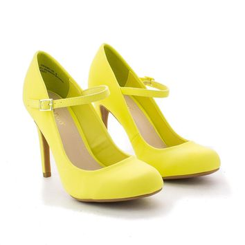 60's Retro Vintage Pinup Lady Lemon Yellow Mary Jane High Heels Pump Shoe