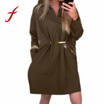 Feitong Fashion Womens Causal Shirt Dress Autumn Ladies Long Sleeve Boyfriend Bandage Loose Mini Dress vestidos femininos 2017