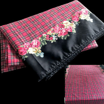 Vintage Holiday Tablecloth Patricia Plaid by Daisy Kingdom Very Long Cotton Table Cloth with Red Plaid and Roses on Black Buffet Table Size