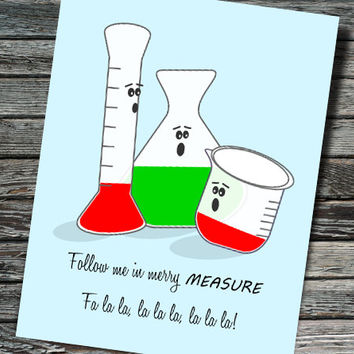 Merry Measure Nerdy Beaker Christmas / Holiday Card | Biology, Chemistry, Physics | Teacher, Scientist, Professor, Student, Engineer