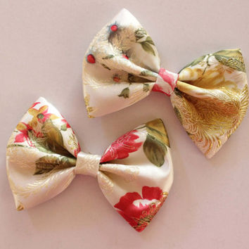 """4.5"""" Satin brocade fabric hair bow clip, Asian style hair accessories, gold and red flora hair clip, brocade hair bow, bow hair barrette"""