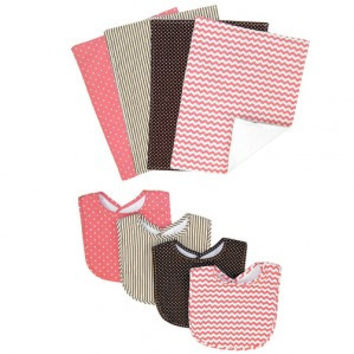 Trend Lab Cocoa Coral 4 Pack Bib and 4 Pack Burp Cloth Set