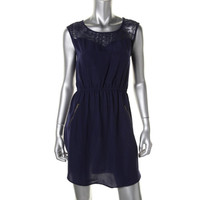 Eye Shadow Womens Juniors Lace Trim Sleeveless Casual Dress