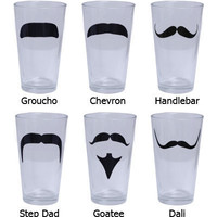 Cool Bar Stuff -  6 pack of 15oz Barconic® Mustache Glasses