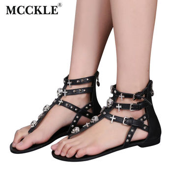 Woman Fashion Thong Sandals Rhinestone Crosses Skull Rome Buckle Women Flats For Ladies Rivets Zip Female Shoes