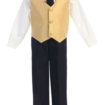 Gold & Black 4-pc Boys Vest & Pants Dresswear Set 6m-7