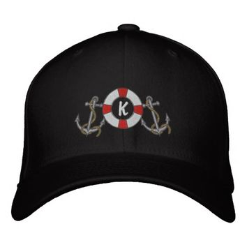 Saling Ring and Anchors Embroidered Baseball Cap