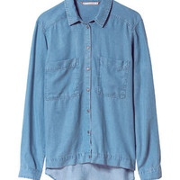ASYMMETRIC DENIM SHIRT - Shirts - Tops - Woman - ZARA United States