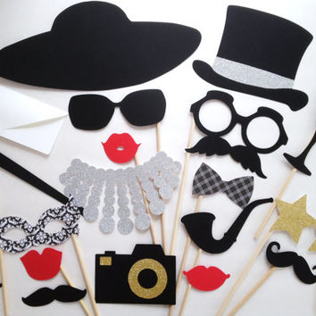 20-Piece Rich and Famous Glitter Photo Booth Prop Set - Wedding Photo Booth Props - Photobooth - Celebrity Photo Props