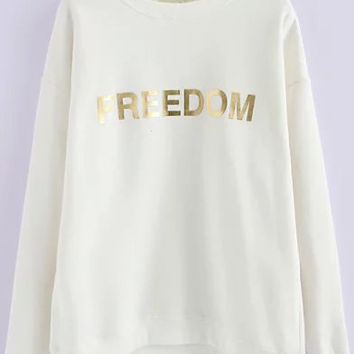 White FREEDOM Print Long Sleeve Sweatshirt