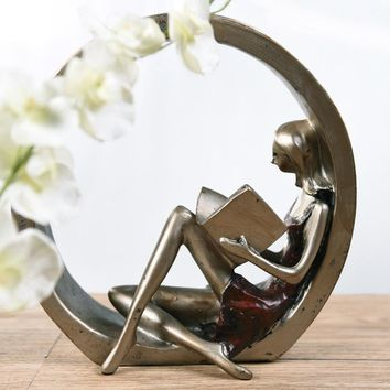 Book Fan Reading Girl & Fashion Model Woman Resin Home Décor Book End Vintage Gift Sculpture