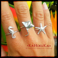 "Sterling Silver ""Under the Sea"" Creatures, Seahorse ring, Starfish ring, Sting Ray ring"