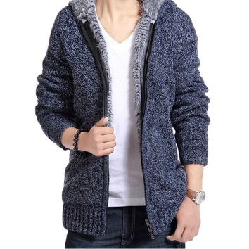 Jacket Men Thick Velvet Cotton Hooded Fur Jackets Mens Winter Padded Fleece Knitted Zip Up Casual Sweater Cardigan Coat Parka