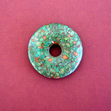 Stone Donut Pendant Green Turquoise Large Natural Stone Necklace Focal Bead Mosaic Wholesale Jewelry Supplies Supply CrazyCoolStuff