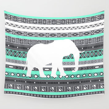 Tiffany Aztec White Elephant Pattern Design Wall Tapestry by RexLambo