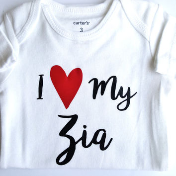I love my Zia infant bodysuit, baby bodysuit, hearts, baby girl,  baby boy, baby clothes, baby shower gifts, gifts for baby, Aunt, Grandma