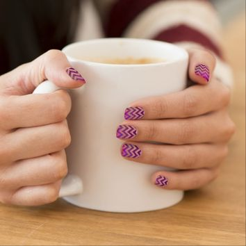 PINK PARTY CHEVRON GLITTER NAIL STICKER