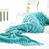 Scales mermaid blankets Fish tail knitting blanket carpet sofa Blue