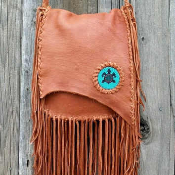 Fringed leather handbag Handmade gypsy bohemian tribal crossbody bag with beaded turtle totem