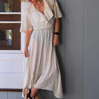 White Rayon Gauze Dress Long White Slip Dress Boho Prairie Peasant Grecian Dress Thin Sheer 70s Gypsy Boho Maxi Dress Womens Medium Large