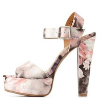 Pink Combo Dollhouse Floral Print Chunky Heel Sandals