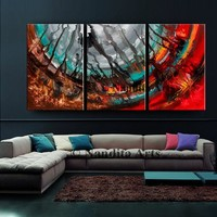 """Painting, 72"""" Modern Wall Art on Canvas, Red Teal Handmade Home Decor, Large Canvas Painting, Office Decor, Modern Fine Art by Nandita"""