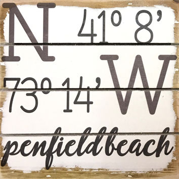 Weathered Coastal Plank Board Sign with Coordinates for Penfield Beach, Fairfield, CT