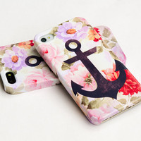 iphone 5 - Anchor on vintage floral iphone case, iphone 5 case, iPhone 4s case, iphone 4 case, hard plastic case