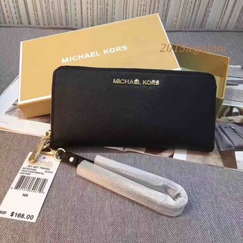 Black New Michael Kors Jet Set Saffiano Leather Travel Wallet Wristlet sales