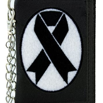 Black Ribbon Death Symbol Tri-fold Wallet with Chain Occult Clothing