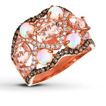 LeVian Opal & Morganite Ring 5/8 ct tw Diamonds 14K Gold