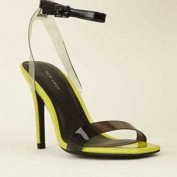 Lime Patent Clear Strap Stilette Sandals | New Look