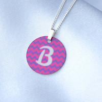 Custom Gift, Tiny Jewelry, Personalized Initial Monogram Chevron Pendant, Charms + Necklace Chain, Pink + Purple, Chevron, Geometric