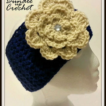 Blue Crochet Headband, Women's Earwarmer for Fall and Winter with Flower