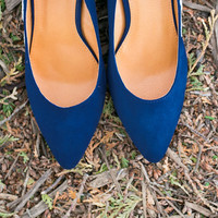 Wedding Heels - Blue Wedges, Wedding Shoes, Low Blue Wedges with Ivory Lace. US Size 8