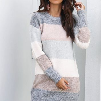 Interlock Fuzzy Pastel Stripe Sweater Dress