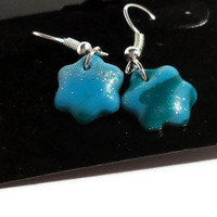 Polymer clay earrings green, turquoise and silver mokume - flower shaped