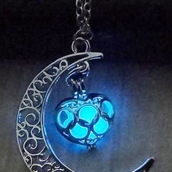 Atomic Blue Glow In The Dark Moon Heart Necklace