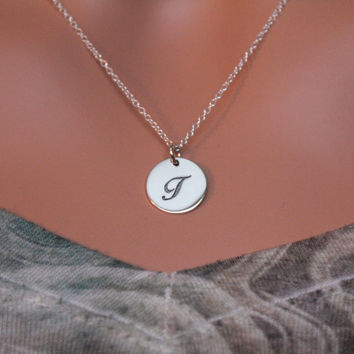 Cursive Circular T Initial Charm Necklace