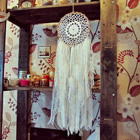 Bohemian Dreamcatcher - Pure Morning - White Dreamcatcher - Made To Order-  Hippie Boho Bedroom Decor - Gypsy Room Decor