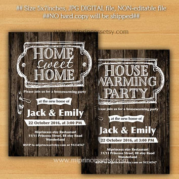 housewarming invitation,  New house home sweet home Invitation Card WOOD design We have moved Invitation Card Design - card 724