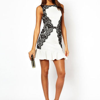 Lace Embroidered Sleeveless Bodycon Fishtail Mini Dress