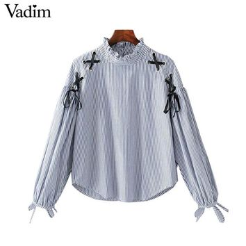 women lace up striped loose shirts bow tie sleeve ruffled collar blouses female casual tops blush