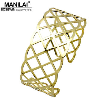 MANILAI Hollow Alloy Open Torque Wide Necklace Geometric Choker Women New Fashion Collar Statement Jewelry Golden & Silver Color