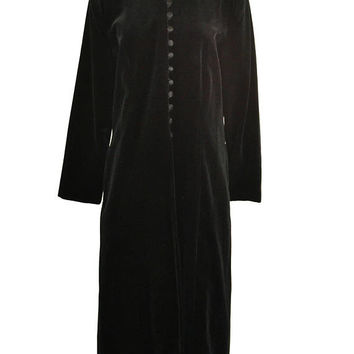 Early 1990s Black Velvet Full Length Opera Coat by JS Collection