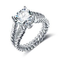 Engagement Jewelry 10mm 3.5 CT Hearts And Arrows Cubic Zirconia 925 Sterling Silver Rings