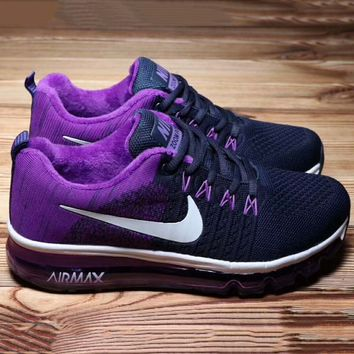 NIKE Air Max  Women Men Running Sport Casual Shoes Sneakers Black-Purple G-A36H-MY