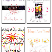 New Year's Wine or Champagne Bottle Labels