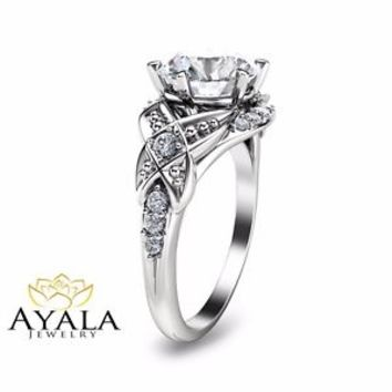14K White Gold Engagement Ring-Diamond Engagement Ring-2ct. Diamond
