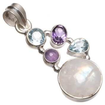 """Natural Rainbow Moonstone,Blue Topaz and Amethyst Unique 925 Sterling Silver Pendant 1 3/4"""" T0608"""
